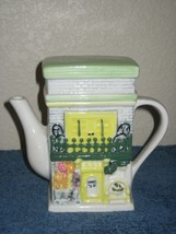 Vintage Teapot Yellow & White French Quarters Scene Green Roof Lid Brick... - $18.65