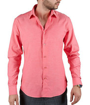Men's Tailored Fit Collared Button Down Casual Solid Coral Dress Shirt - XL image 2