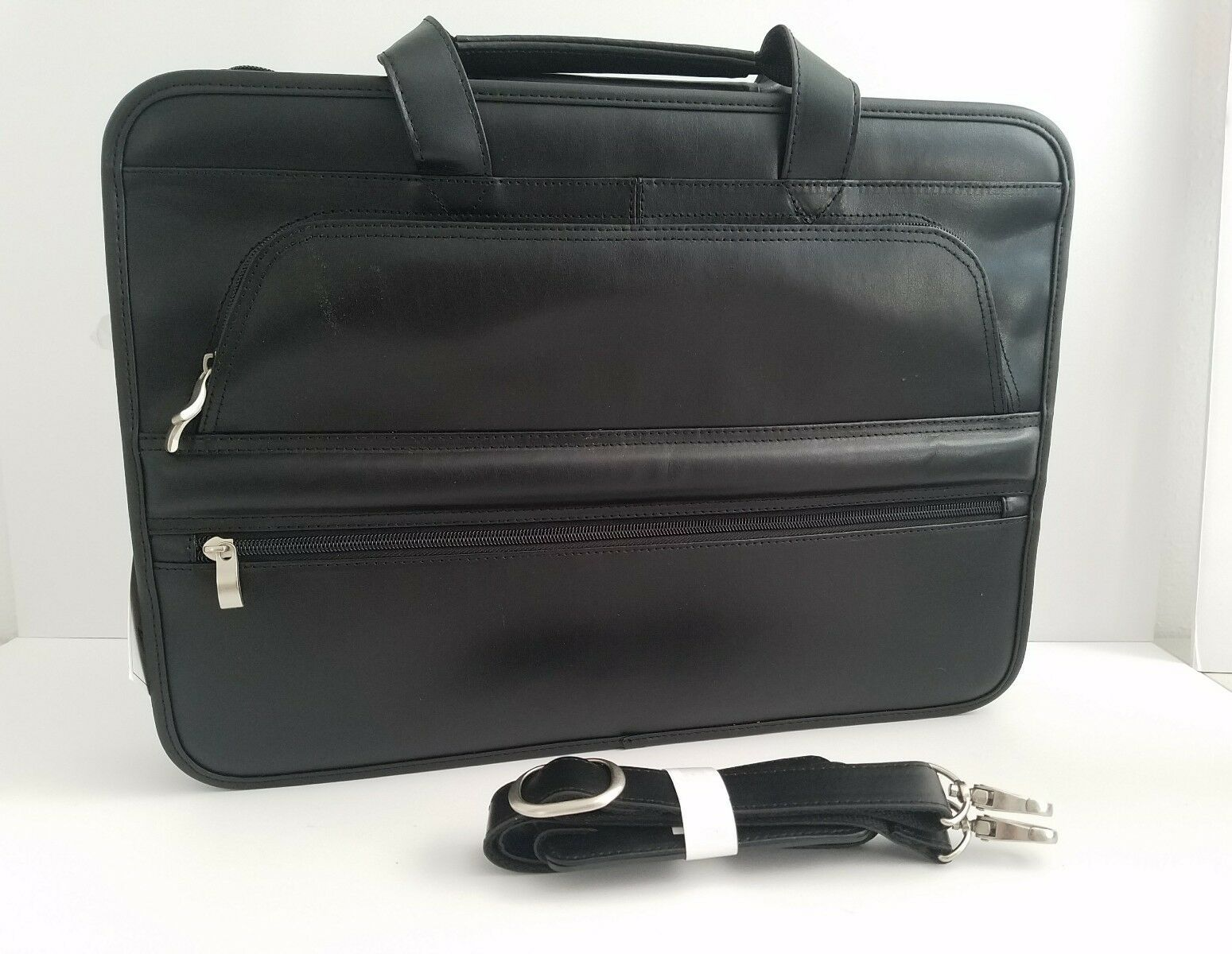 Primary image for Kingport Industries New Black Leather Briefcase with Tag Style 8240-BK w/ Strap