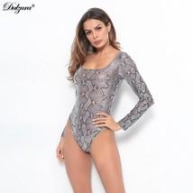 Dulzura 2019 spring summer women mesh bodysuit snake print long sleeve t... - $37.72