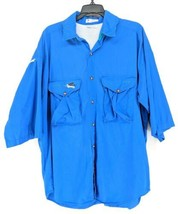 Columbia Vented Fishing Shirt Men's Sz Large Blue Embroidered Fly (d)   - $22.99