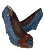 MIU MIU Denim Peep Toe Wedge Pumps w Leather Bow sz 40, 9 - $48.19