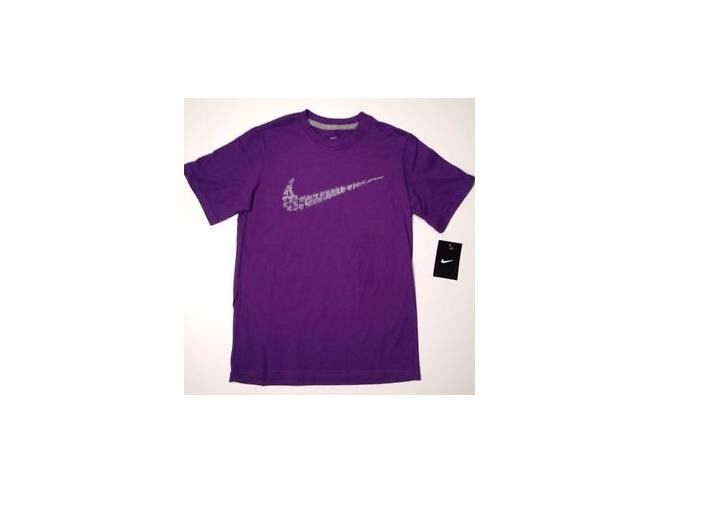Primary image for BOY'S YOUTH KIDS NIKE TALLY MARK SWOOSH CREW TEE T SHIRT PURPLE NEW $25 520