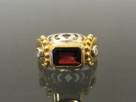 Vintage Modernist 14K Solid Yellow & White Gold Genuine Garnet & Diamond... - $355.00