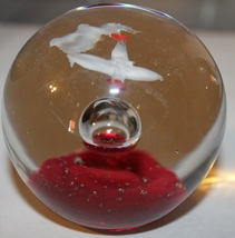 Vintage Art Glass Red headed Crane Bird Paperweight - $20.00