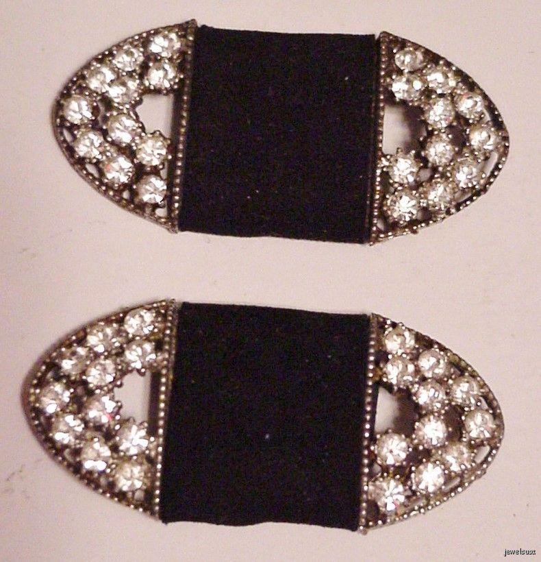 Vintage Rhinestone Shoe Dress Scarf Clips