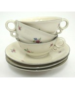 EPIAG Lot of 3 Demitasse Cups & Saucers Cream w Mini Pink and Blue Flowe... - $15.98