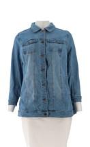 Studio Denim Co Denim Distressed Long Jean Jacket Medium Wash 1X NEW A30... - $40.57