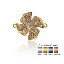 Pinwheel Connection Brass Pave Clear CZ for Original Charms Bracelet Jew... - $2.99
