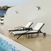 vidaXL Sun Lounger Set Poly Rattan Wicker Black Outdoor Seating Bed Garden - $233.99