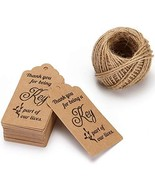 100Pcs Thank You Tags Kraft Paper Gift Cards with Natural Jute String fo... - $7.65