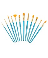 Painting Brush Set 12 Pcs Nylon Hair Watercolor Acrylic Oil Artist Brush... - $9.04
