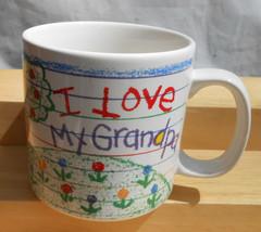 PAPEL MUG CUP I my LOVE GRANDPA COLOR CRAYONS FLOWERS TREE - $16.82