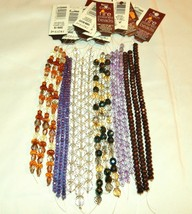 CZECH FIRE POLISHED BEADS 7 IN. STRANDS 4-10 MM BRONZE, LILAC, TOPAZ, CL... - $5.45+