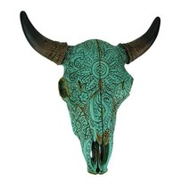 DeLeon Resin Wall Sculptures Turquoise Floral Tribal Carved Bull Skull Hanging S