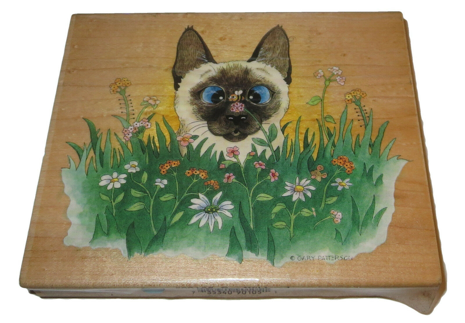 Siamese Cat Rubber Stamp Bee Wildered Flowers Large Gary Patterson Garden #2  - $15.83