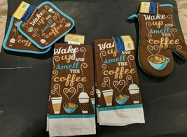 """Home Collection-""""Wake Up Smell The Coffee"""" Potholders, Mitt, Towels, Dis... - $3.00+"""
