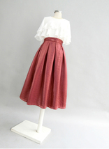 Burgundy Midi Party Skirt Outfit Glitter A-line Pleated Midi Skirt Plus Size image 3