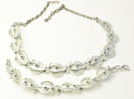 Vintage Sapphire Blue Rhinestone Rhodium Plate Necklace Bracelet 1950's Set   - $44.25