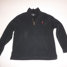 Polo Ralph Lauren 1/4 Zip Pullover Sweater Solid Black Cotton Mens Size Medium - $27.69