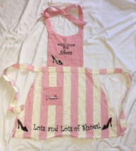 Will Cook For Shoes Kitchen Apron Pink White - $8.90