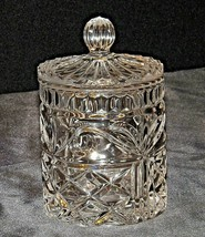 Heavy Etched Cut Glass Jar with Lid AA20-CD0081 Vintage