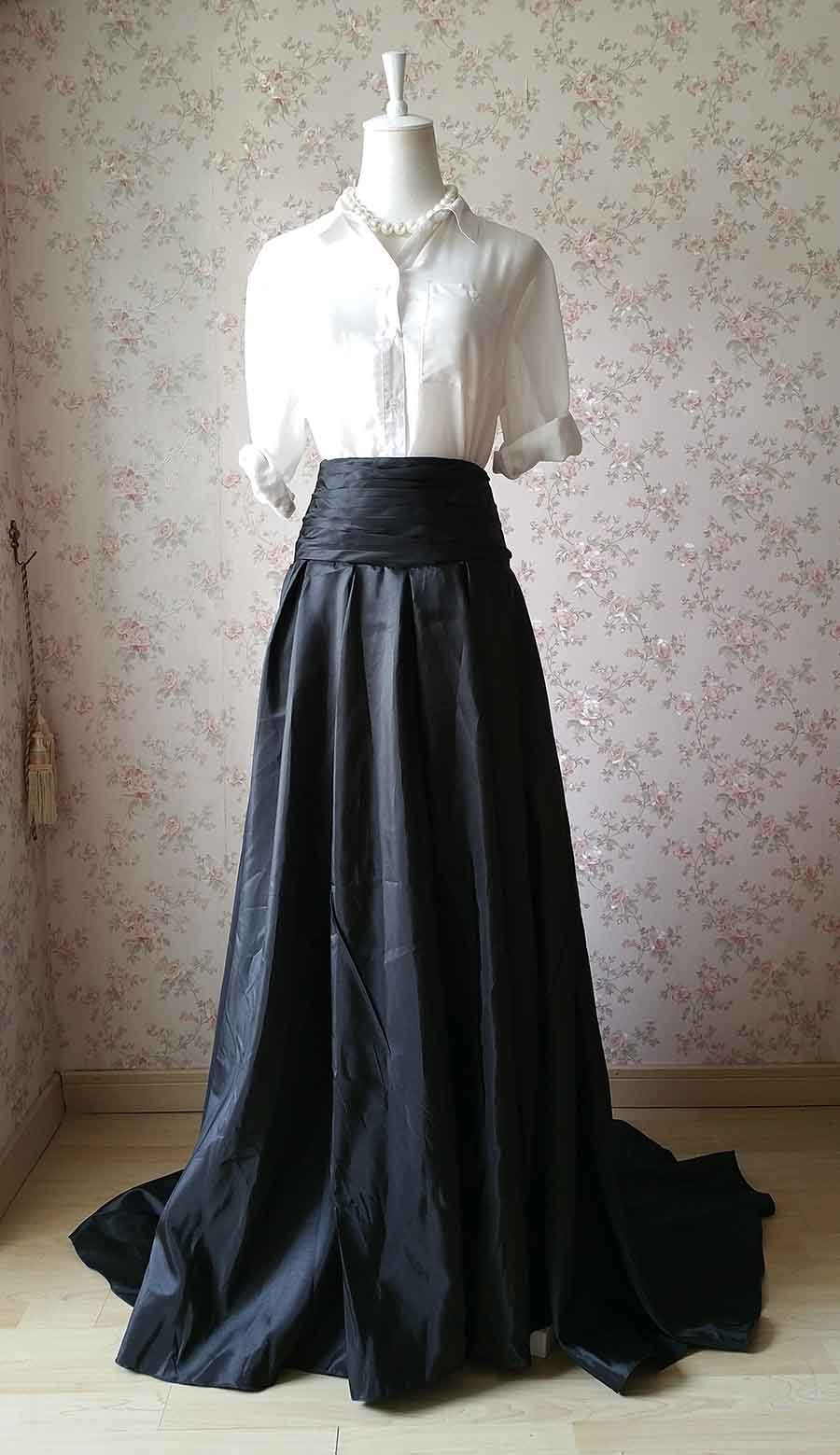 Women High Waisted Black Maxi Skirt Pleated Maxi Skirt with Train Evening Skirt