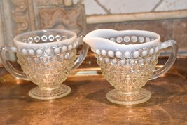 Moonstone HOBNAIL Cream Creamer & Sugar Bowl WHITE ART GLASS Vintage FENTON image 2