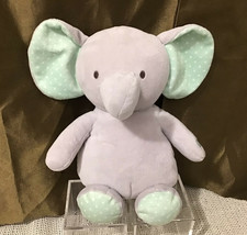"Carter's 10"" Vibrating Soothing Musical Gray Mint Green Elephant Plush Toy - $37.62"