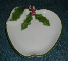 N S Gustin / LA Pottery - Christmas Collectible Holly Apple Shaped Plate... - $14.54