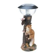 Squirrel Climbing Tree Garden Figurine Solar Path Lighting - $24.20