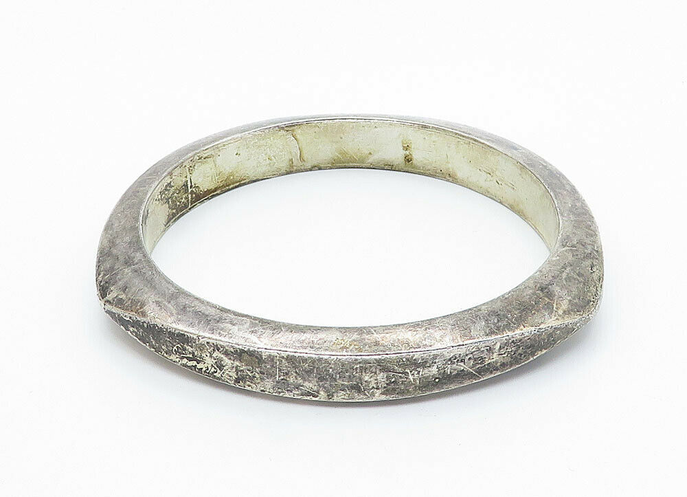 MEXICO 925 Silver - Vintage Hollow Angled Smooth Bangle Bracelet - B5914