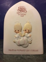 PRECIOUS MOMENTS LAST FOREVER Collectors Club Charter 1981 ANGEL PLAQUE ... - $9.80