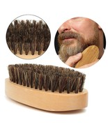 Beard Brush Mustache Comb Boar Bristle Oval Natural Wood Men Hair Care B... - $8.50