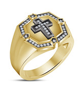 14K Yellow Gold Over 925 Silver White CZ Special Crismas Men's Onyx Cros... - $76.86