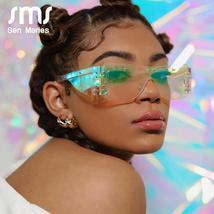 Fashion Rimless Square Sunglasses Women  Luxury Brand Mirror Pink Shades Sunglas image 2