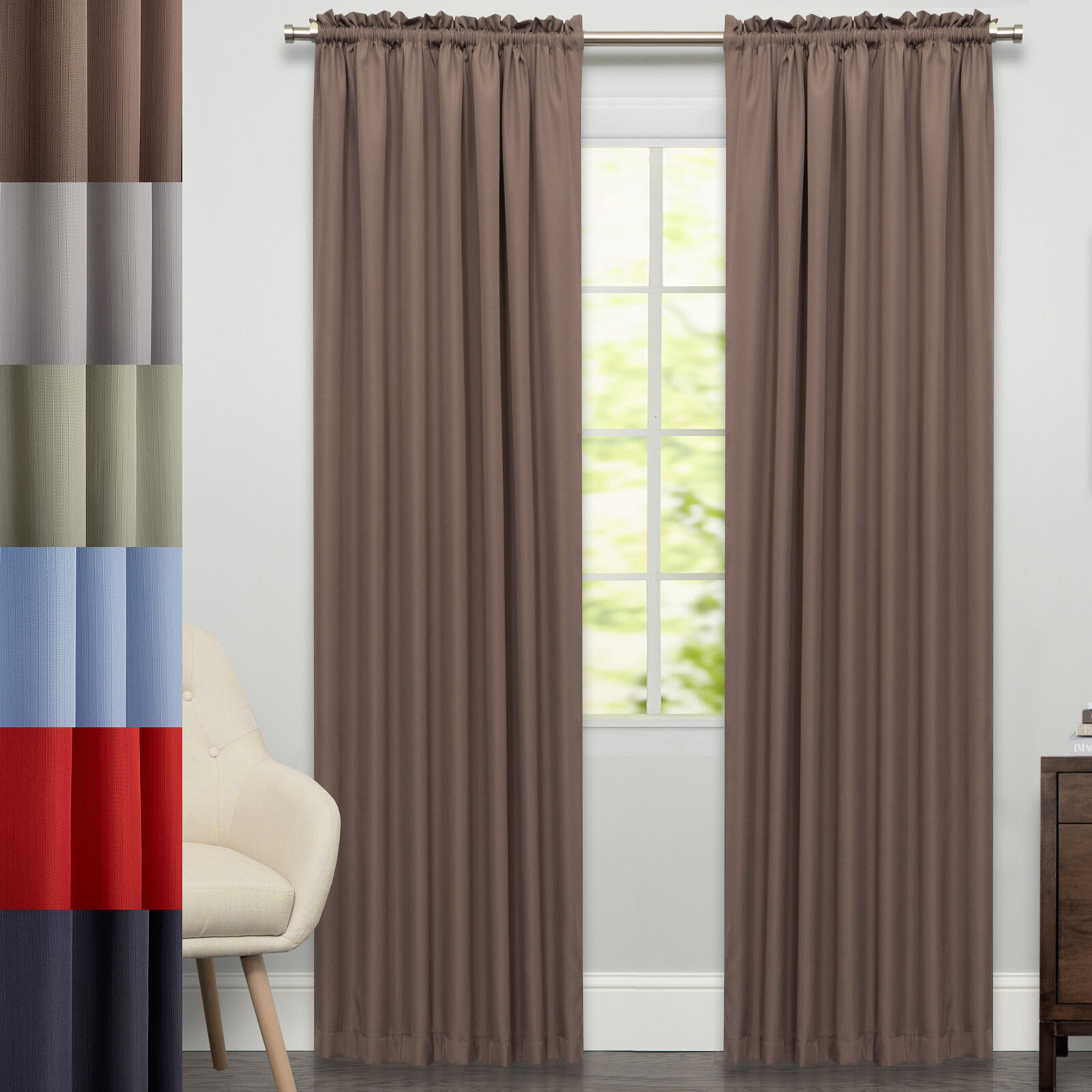 "Primary image for Ribcord Tailored Window Curtain Single Panel  84""x54"""