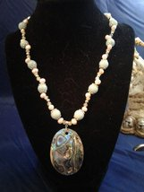 "19.5"" Handmade Amazonite, Pink Pearl, and Epidote Beaded Necklace w Pendant Z294 - $70.00"