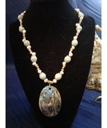 "19.5"" Handmade Amazonite, Pink Pearl, and Epidote Beaded Necklace w Pend... - $70.00"