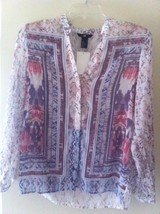 H&M Women Ethnic Ikat Prints Shirt button front white red purple pink 4 ... - $14.49
