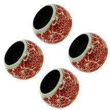 Paper Mache Holder Napkin Ring Red Floral Patte... - $19.79