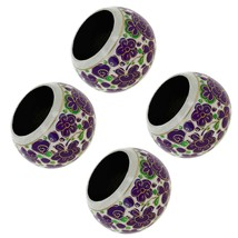 Paper Mache Holder Napkin Ring Purple Floral Pa... - $19.79