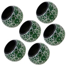 Paper Mache Holder Napkin Ring Green Floral Pat... - $25.19