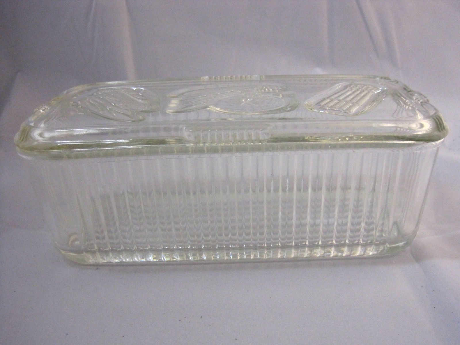 Clear glass refrigerator container storage vintage federal for Glass 2 glass