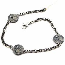 Silber Armband 925, Brüniert und Matt, Bremsscheiben mit Schläger von Te... - $104.74