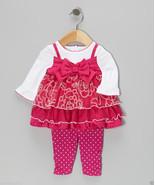 Youngland Infant GIrl White & Pink Bow Layered Dress & Leggings, Sz.18 M... - $19.79
