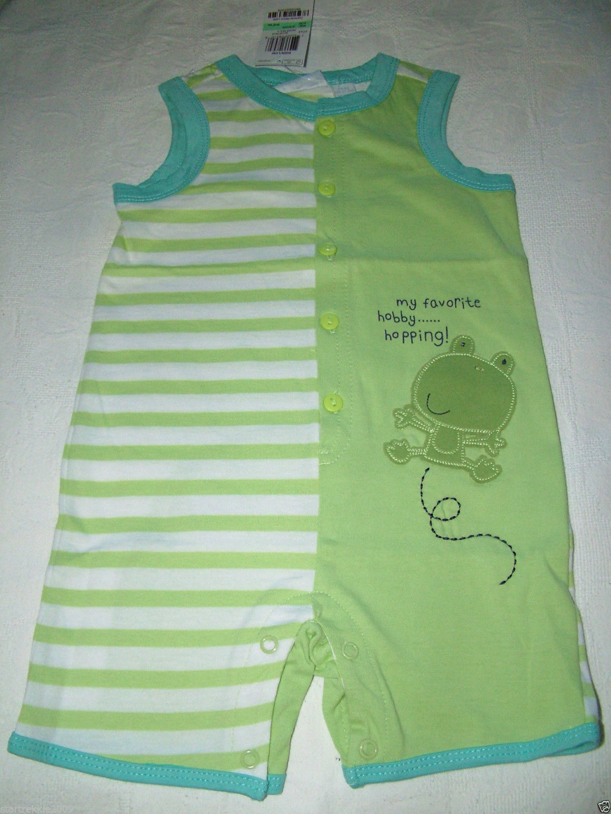 Primary image for First Impressions Baby Boy Stripe/Solid Romper, Green Frog. Sz.12 Months, NWT