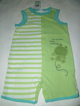 First Impressions Baby Boy Stripe/Solid Romper, Green Frog. Sz.12 Months... - $9.99