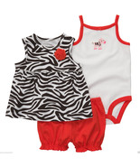 Carter's Infant Girl 3 Pc.Cotton,Zebra Print Set. Size18 Mos. NWT - $17.99