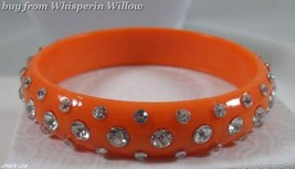 Fun Fashion Orange Acrylic Bracelet with Acrylic Rhinestones - $9.95